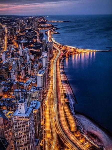 360 de Chicago, vistas del Lago Michigan